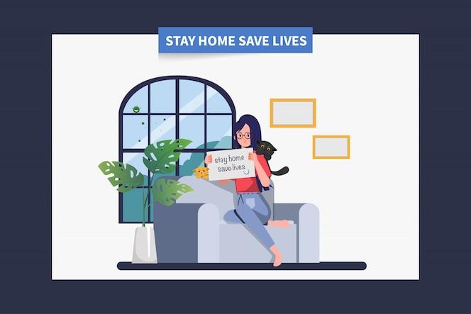 Kobieta zostań w domu, unikaj rozprzestrzeniania się koronawirusa podczas covid-19. zostań w domu, ratuj życie.