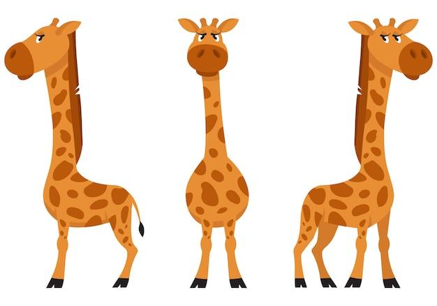 Kobieta żyrafa w różnych pozach. afrykańskie zwierzę w stylu cartoon.