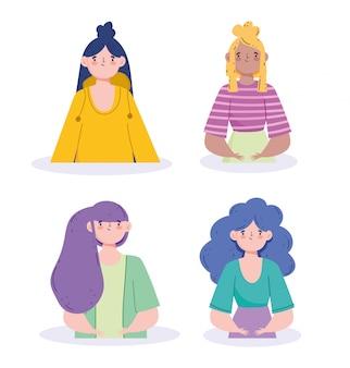 Kobiety awatary z fioletowo-niebieskimi czarnymi i blond włosami