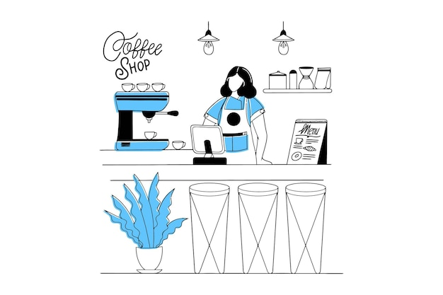 Kobiety barista pracująca nad zrobieniem kawy w kawiarni