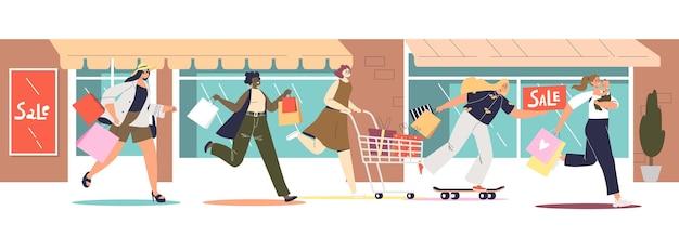 Kobiety biegają do sklepów lub butików na wyprzedaże, oferty specjalne i promocje. koncepcja zakupy rabaty. grupa kobiety kreskówka spieszyć się kupić w dobrej cenie. płaska ilustracja wektorowa