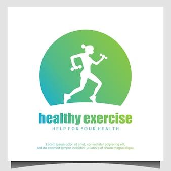 Kobiety biegające dla zdrowej ilustracji projektowania logo