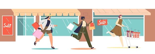 Kobiety biegające po sezonowe wyprzedaże i zniżki na boże narodzenie lub czarny piątek. promocje i zakupy. grupa kobiet pośpiechu w sklepach detalicznych. płaska ilustracja wektorowa