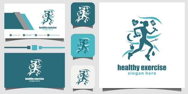 Kobiety Biegnące Zdrowe Logo Projekt Ilustracji Szablon Wizytówki Tło Premium Wektorów
