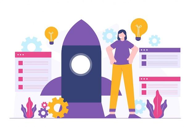 Kobiety biznesu i płaska ilustracja rakiety