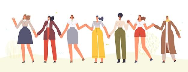 Kobiety chodzą i trzymają się za ręce w tańcu. wielorasowe kobiety świętują obchody wiosny 8 marca. pojedynczo na białym tle.