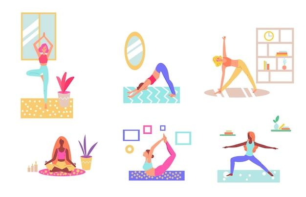 Kobiety ćwiczące jogę w domu kreskówka zestaw ludzi rozciągających się w salonie