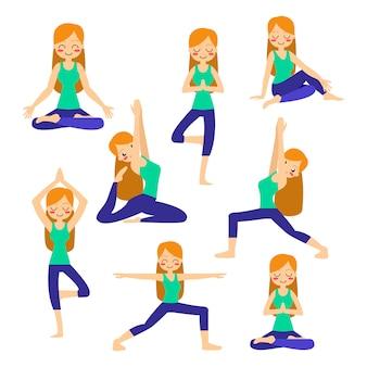 Kobiety ćwiczy joga w drzewnej pozie. w asanie vrikshasanie.
