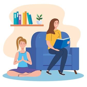 Kobiety czytające i uprawiające jogę w domu projektują motyw aktywności i wypoczynku