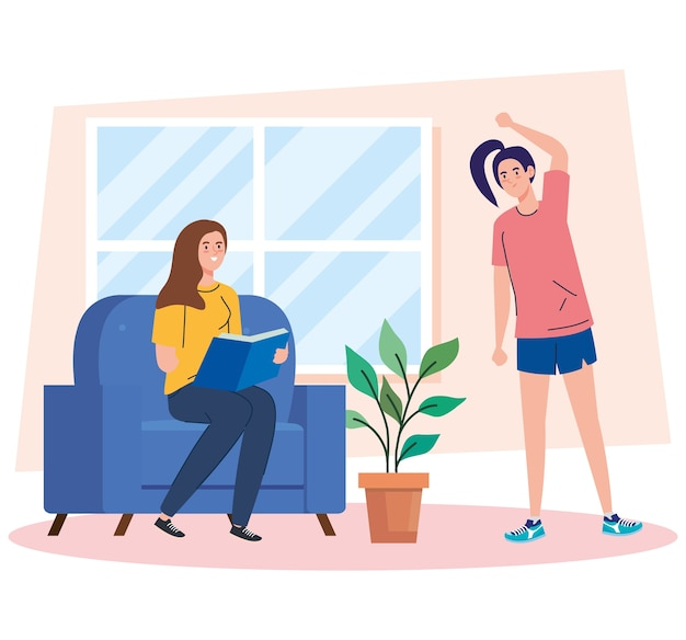 Kobiety czytające książkę i rozciągające się w domu projektują motyw aktywność i wypoczynek