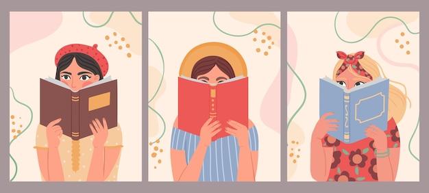 Kobiety czytające książki. ręcznie rysowane moda plakat z modnej pięknej kobiety prowadzącej księgę. portrety dziewcząt czytać i uczyć się, koncepcja wektor. ilustracja czytelnika studenta trzymającego plakat w kolorze vintage