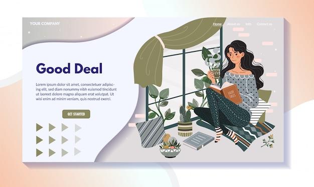 Kobiety czytelnicza książka na windowsill, domowy czas wolny strony internetowej projekt, wektorowa ilustracja