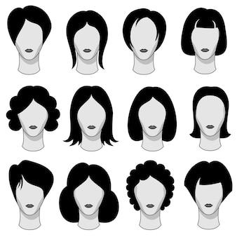 Kobiety fryzury czarne wektorowe włosiane sylwetki