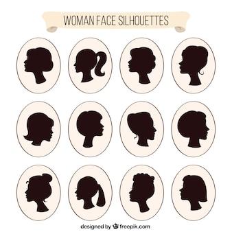 Kobiety głowa solhouettes