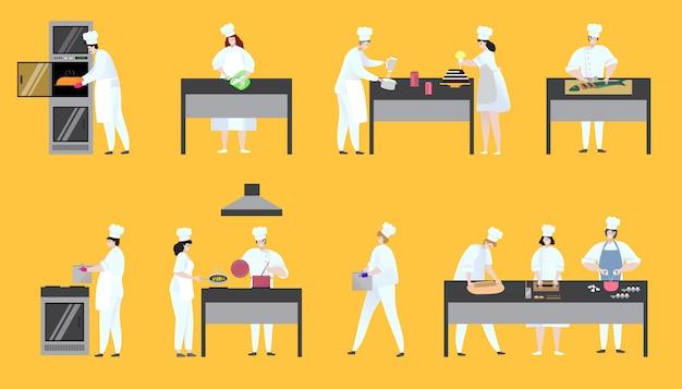 Kobiety i mężczyzna gotować szefa kuchni pyszne danie w restauracji na gotujących miejscach pracy na wyciągnąć rękę.