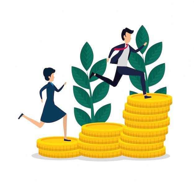 Kobiety i mężczyzna praca zespołowa z monetami i roślinami