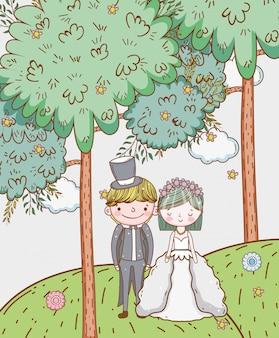 Kobiety i mężczyzna ślub z chmurami i kwiatami