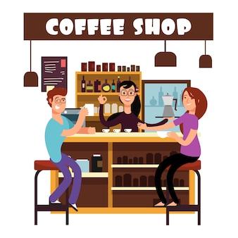 Kobiety i mężczyzna spotkanie w sklep z kawą ilustraci