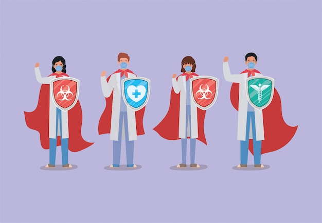Kobiety i mężczyźni lekarze bohaterowie z peleryną i tarczą przeciwko projektowi wirusa ncov 2019 objawów choroby epidemicznej covid 19 i ilustracji motywu medycznego