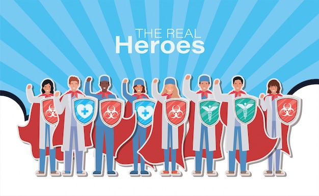 Kobiety i mężczyźni lekarze bohaterowie z peleryną i tarczą przed 2019 r. projekt ncov objawów choroby epidemicznej covid 19 i ilustracja tematu medycznego