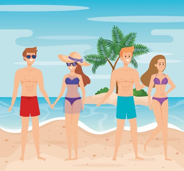 Kobiety i mężczyźni na plaży z kostiumami kąpielowymi i szortami kąpielowymi