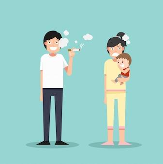 Kobiety i młody chłopak śmierdzący papierosem, mężczyzna palący