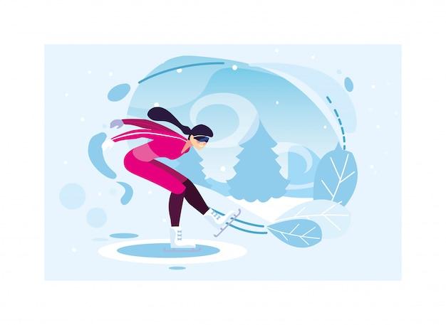Kobiety jazda na łyżwach w krajobrazie zima