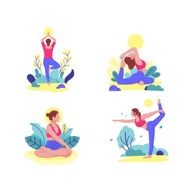 Kobiety joga pozuje out drzwiowego ilustracyjnego płaskiego projekt