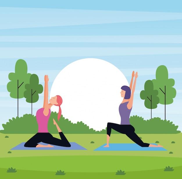 Kobiety joga w parku