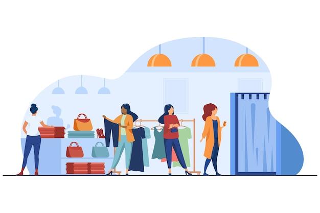 Kobiety kupują ubrania w sklepie odzieżowym. sukienka, pani, akcesoria płaskie wektor ilustracja. moda i zakupy
