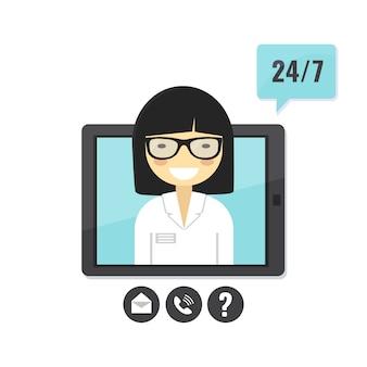 Kobiety lekarka daje poradę medyczną na komputerze typu tablet. usługa konsultacji z lekarzem