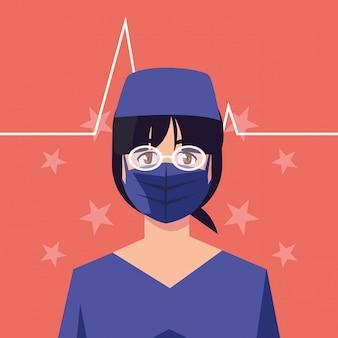 Kobiety lekarka z maską przed pulsu i gwiazd wektorowym projektem