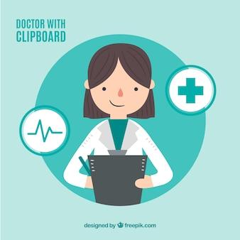 Kobiety lekarka z schowkiem i ikonami