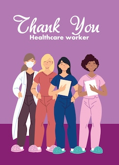 Kobiety-lekarze z projektowaniem masek opieki medycznej i motywem wirusa covid 19