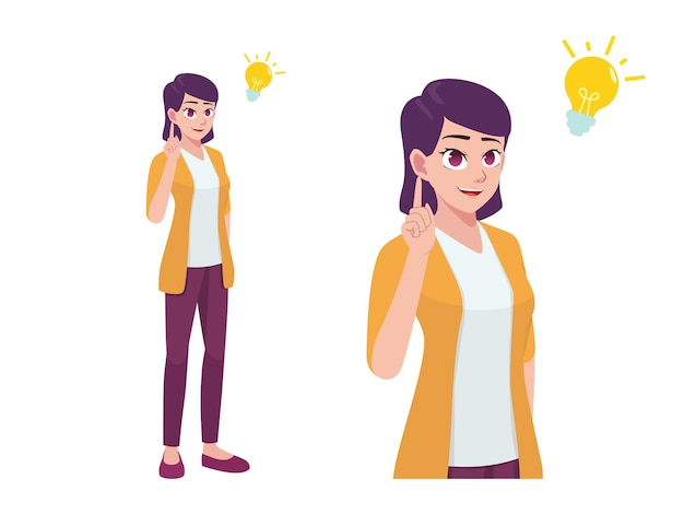 Kobiety lub dziewczyna myśli i mam pomysł wyrażenie stanowią ilustracja kreskówka
