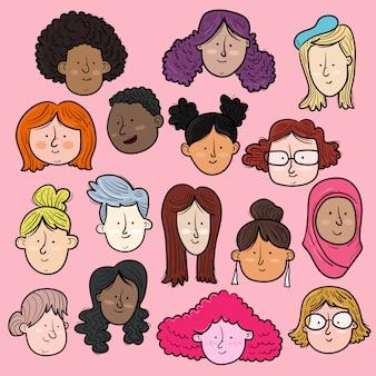 Kobiety międzynarodowe i międzyrasowe twarze