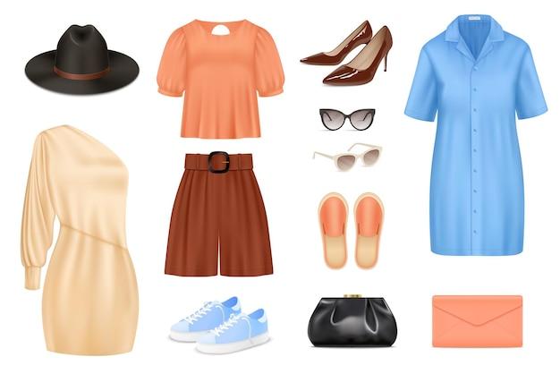 Kobiety moda realistyczny zestaw kolorów z izolowanymi ubraniami i akcesoriami