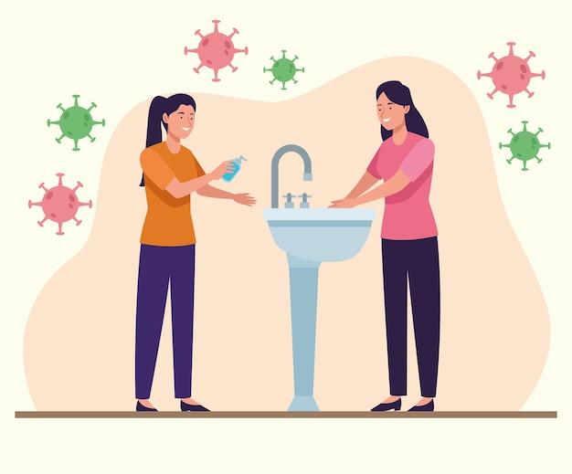 Kobiety myjące ręce