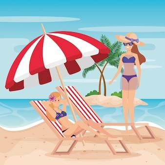 Kobiety na sobie strój kąpielowy z solarium i parasol