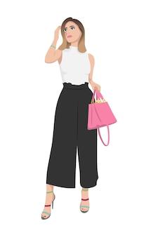 Kobiety na wysokich obcasach ubrane w stylowe modne ubrania ilustracja kobiecej mody