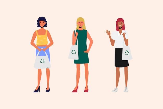 Kobiety noszą torby materiałowe dla ochrony środowiska i świata. brak koncepcji plastikowej torby.