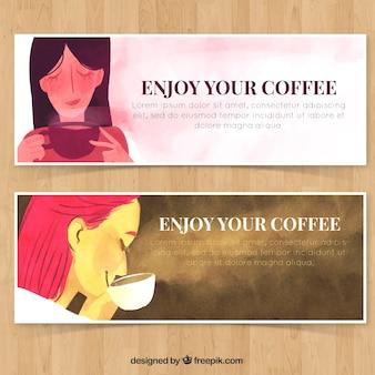 Kobiety o filiżankę kawy banery