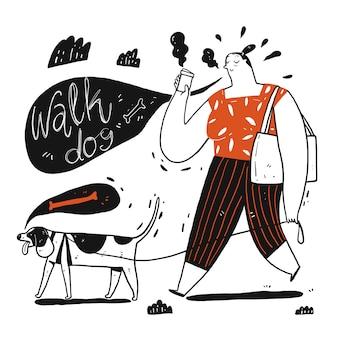 Kobiety odprowadzenia pies trzyma filiżankę kawy. kolekcja ręcznie rysowane, ilustracji wektorowych w stylu doodle szkic.