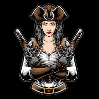 Kobiety piratów trzyma broń