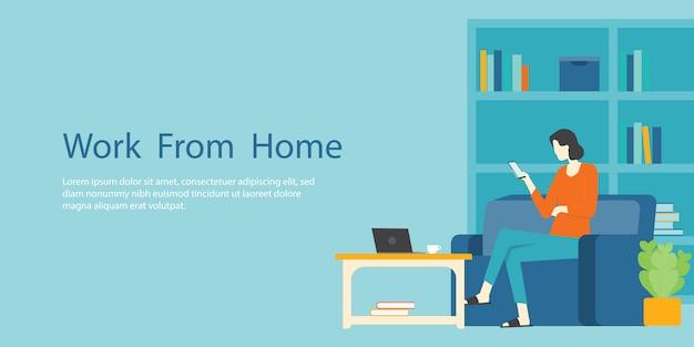 Kobiety pracują w domu od koncepcji biznesowej i inteligentnej koncepcji biznesowej