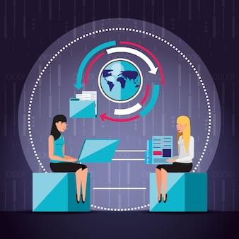 Kobiety pracujące i zestaw ikon biznesowych