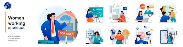 Kobiety pracujące na białym tle zestaw nauczycielka nieruchomości, operator programisty i inne sceny w mieszkaniu