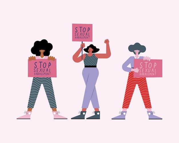 Kobiety protestujące przeciwko molestowaniu seksualnemu
