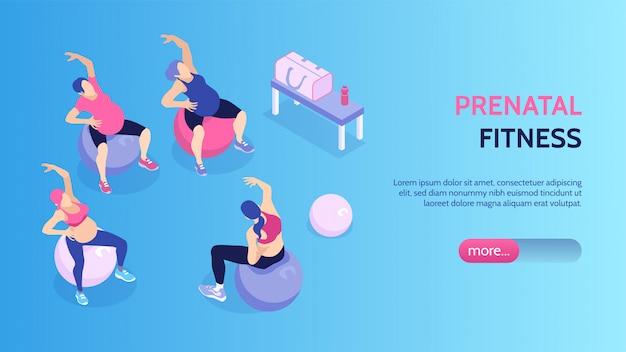 Kobiety przy prenatal sprawności fizycznej klasami w gym sztandaru 3d wektoru horyzontalnej isometric ilustraci