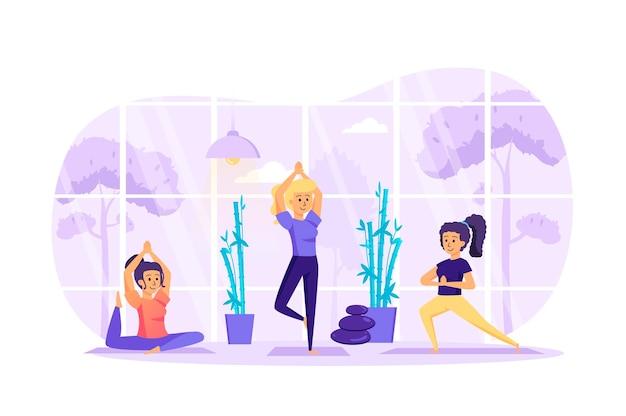Kobiety robią asany jogi w koncepcji płaskiej konstrukcji studio ze sceną postaci ludzi